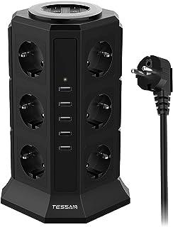 TESSAN 12 Fach Steckdosenleiste 2500W/10A 5 USB Mehrfachsteckdose mit Schalter Steckerleiste Mehrfachsteckdosen Überspannungsschutz, Steckdosenverteiler Stromverteiler für Zuhause Büro, 2m Kabel