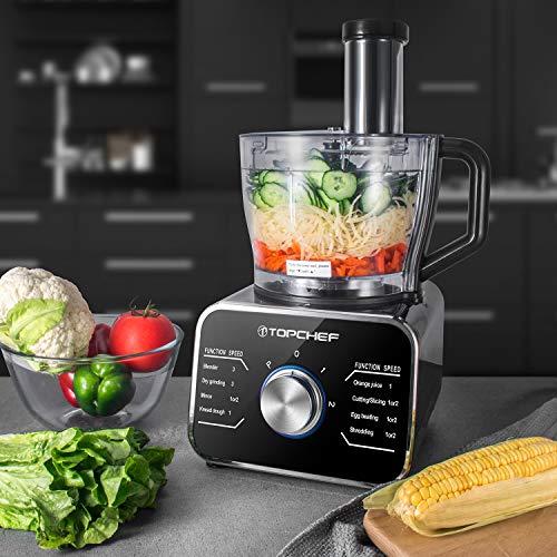 Robot culinaire Topchef 1100W Robot Multifonction(avec accessoires inclus: crochet pétrisseur, mixeur, presse-agrumes et moulin à café), argent/noir