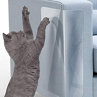 LMLMD Pet Couch Protector, 6 Pack Clear Cat Claw Guards Self-Adhesive Pads,Cat Scratch Furniture Protector Pad Deterrent,Cover to Protect The Upholstery, Door, Walls,Car Seat(18''L x 12''W) from LMLMD