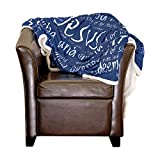 Christian Throw Blanket - Names of God - Inspirational Gifts for Grandma Men Women Pastors– Faith Scripture - Surgery Recovery Healing - Birthday Gifts - 60'x70' (Blue/White)
