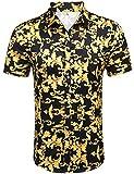Daupanzees Mens Fashion Short Sleeve Street Wear Designer African Dashiki Luxury Design Print Button Up Casual Shirts (Gold M)