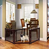 PETSJOY 24'H Pet Safety Gate with Door, Indoor/Outdoor Safety Baby Gate, Wooden Pet Playpen, Folding Adjustable Panel Safety Gate for Corridor, Doorway, Stairs, Extra Wide, Cerise Finish 81'W