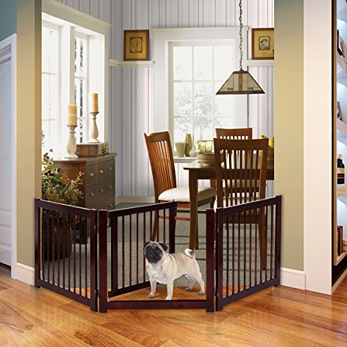 """PETSJOY 24""""H Pet Safety Gate with Door, Indoor/Outdoor Safety Baby Gate, Wooden Pet Playpen, Folding Adjustable Panel Safety Gate for Corridor, Doorway, Stairs, Extra Wide, Cerise Finish 81""""W"""