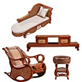 Sungao Natural Bamboo - Rattan Wicker Chaise Lounge Chair Set/longuer/Recliner/Reclining Chair Suite/seat/Settee/Seater/Couch/Chair/Coffee Table/Tea Table/Teapoy/Side Table/end Table