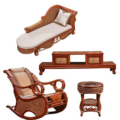 Naturale bambù - rattan vimini sedie set / sdraio suite / chaise longue / longuer / poltrona / sedia reclinabile / laici sedia / menzogne sedia / posti / sedia / tavolino da salotto / tavolo da tè / tavolinetto a tre gambe / tavolino / fine tabella