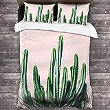 Cactus V6 - Juego de funda de edredón de 3 piezas, juego de ropa de cama de 86 x 70 pulgadas, funda de almohada de 50,8 x 76,2 cm
