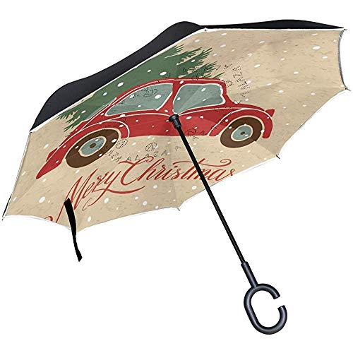 Merle House Christmas Tree Vintage Car Double Layer Inverted Umbrella with C-Shaped Handle, Snow Red Anti-UV Waterproof Windproof Straight Umbrella