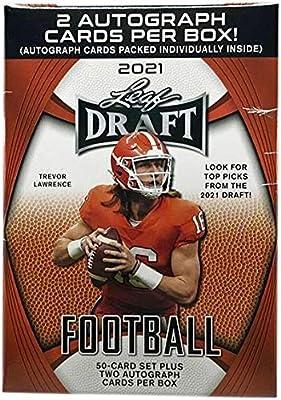 2021 Leaf Draft Football Blaster box (50-card set & TWO Autograph cards/box)