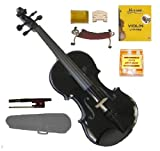 Merano MV300BK 1/2 Size Black Violin with Case and Bow+Extra Set of Strings, Extra Bridge, Pitch Pipe, Rosin, Shoulder Rest