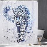Tiger Duschvorhang, heftiges Wildtier thematisierter Badevorhang, Badezimmerdekor, Haken enthalten.65x70Zoll
