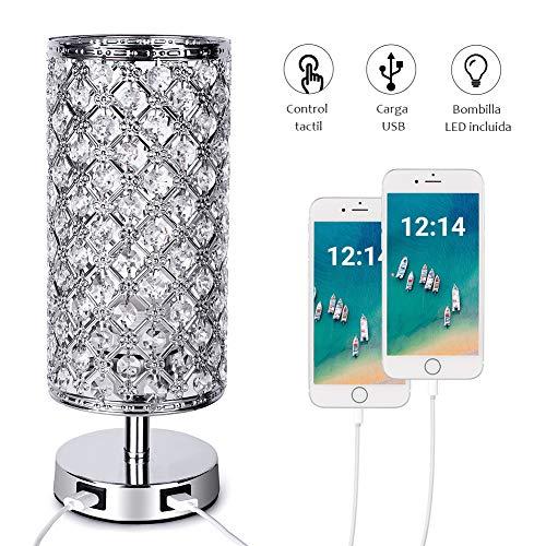 SUVOM Lámpara de Mesa Control Táctil de Cristal, 3 Modos de Luz Lámpara de Mesilla de Noche de Cristal con 2 Puertos de Carga USB Rápidos Dobles para Sala de Estar, Dormitorio, Comedor