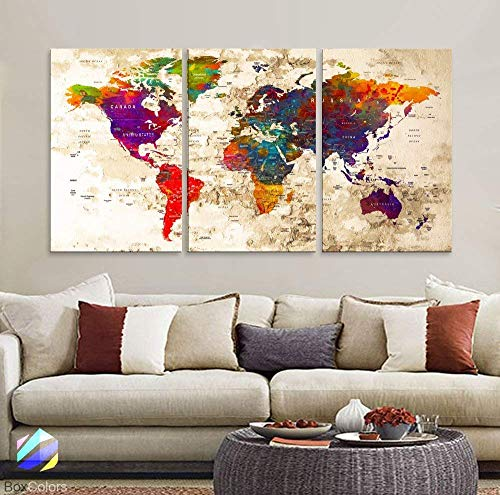 Original by BoxColors LARGE 30'x 60' 3 panels 30x20 Ea Art Canvas Print Watercolor Multi Color Old Map World Push Pin Travel Wall home office decor (framed 1.5' depth) M1816