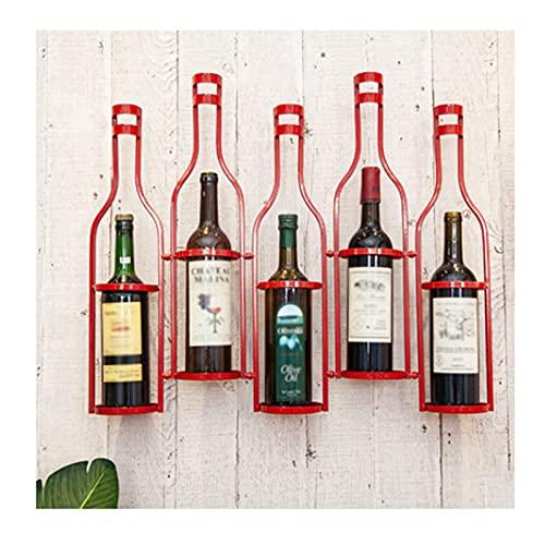 LSZHAO Montado Pared Botelleros Exhibición de Vino Almacenamiento Simple Estante Organizador Vino para Almacenamiento Botellas Licor Bebidas(Color:Rojo)