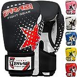 Farabi - guantes de boxeo para niños de 6 oz, guantes de entrenamiento de kickboxing muay thai para entrenamiento de MMA, los mejores guantes para entrenar en saco de boxeo, almohadillas de enfoque para práctica (Black, 6-oz)