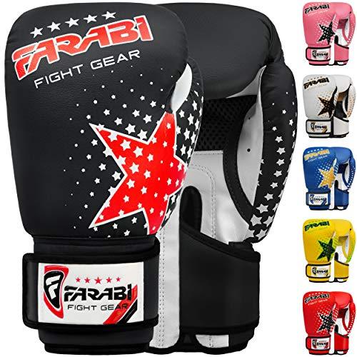 Farabi Kinder Boxhandschuhe 6-Unzen, Kickboxen Muay Thai Training MMA Sparring Handschuhe, Beste Handschuhe für das Training auf Boxsack, Fokus Pads Übung (Black, 6-oz)