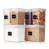 ABTSICA Recipientes Herméticos para Almacenamiento De Alimentos con Tapas, 6 Botes De Plástico Sin BPA para Alimentos Secos para Organización Y Almacenamiento De Despensa,2