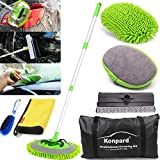 Konpard 7pcs Car Wash Brush Kits with 42.5' Aluminum Alloy Long Handle,Car Wash Kit Auto Care–Exterior and Interior Cleaning–Tire Wheel Brush–Window Squeegee–Window Cleaner Tool-Tool Bag