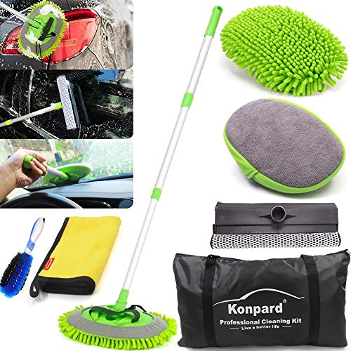 "Konpard 7pcs Car Wash Brush Kits with 42.5"" Aluminum Alloy Long Handle,Car Wash Kit Auto Care–Exterior and Interior Cleaning–Tire Wheel Brush–Window Squeegee–Window Cleaner Tool-Tool Bag"