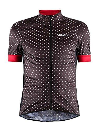 Craft Sportswear - Maglia a Maniche Corte, da Uomo, con Stampa Grafica UPF 50+, con Zip Completa, per Ciclismo, Protezione, Equitazione, Compressione, Raffreddamento, Rosso Brillante, Grande