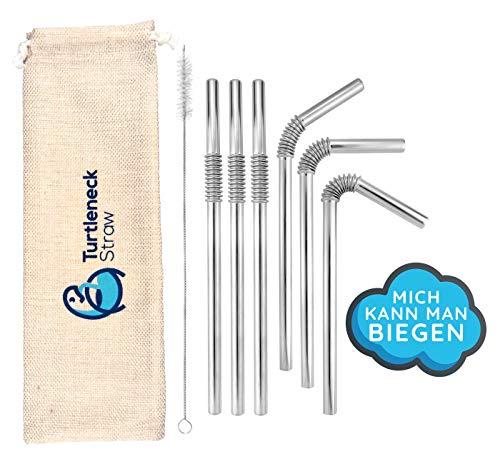 Turtleneck Straw - Biegsame Strohhalme, Trinkhalme aus Edelstahl, 6 Metall Halme mit 1 Reinigungsbürste im Set, wiederverwendbar, umweltfreundlich & spülmaschinenfest