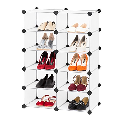 LANGRIA DIY Shoe Rack, Multi Use Modular Organizer Storage Plastic Cabinet with Doors, Black and White Curly Pattern (10 Cube Without Door)
