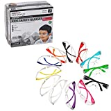BISON LIFE Kids Protective Safety Glasses | Impact and Ballistic Resistant Lens, Clear Polycarbonate Lens Color Temple, Child Youth Size (Box of 12 Colors - Variety Pack)
