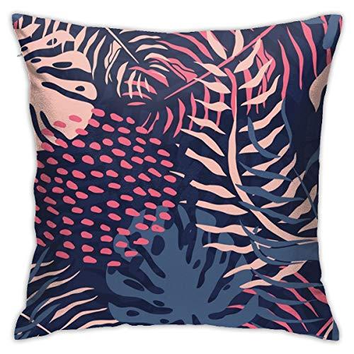 Funda de almohada N/A para decoración de interiores, diseño vintage estampado de hojas tropicales