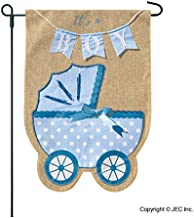 New Baby Banner Baby Boy Garden Flag, Yard Sign, Car Decoration - Blue Carriage Baby Buggy Design On Burlap Banner - 12x18 - Home Garden Flag