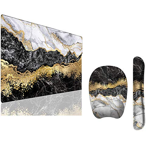 """Anyshock Desk Mat, Extended Gaming Mouse Pad 35.4"""" x 15.7"""" XXL Keyboard Laptop Mousepad with Keyboard Wrist Rest and Ergonomic Mouse Pad with Wrist Support (Black White Abstract)"""