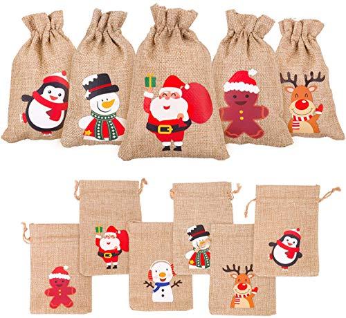 DERAYEE 12 stück Jutesäckchen Weihnachten Jutebeutel 10x15cm Jute Säcke Beutel Süßigkeitensack Geschenksäckchen Säcke für Adventskalender Schmuck Gastgeschenke und DIY-Handwerk