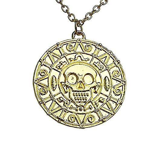 Colar com medalhão de caveira asteca do tesouro do pirata do Caribe, 2 peças, dourado, médio