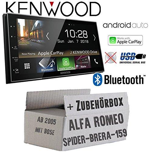 Autoradio Radio Kenwood DMX7018BTS - | Bluetooth | AndroidAuto | Apple CarPlay | Zubehör - Einbauset für Alfa Romeo 159 Spider Brera Navi Bose - JUST SOUND best choice for caraudio