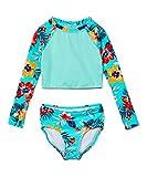 Kanu Surf Girls' Long Sleeve Rashguard Two Piece Swim Set, Brooke Crop Ice Green, 14/16