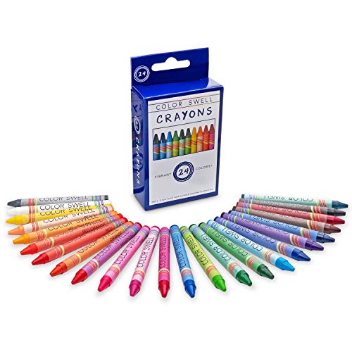 Color Swell Crayon Pack of 24 Count Vibrant Colors Teacher Quality Durable for Families Class Party Favors