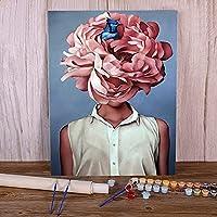 大人のための数字によるDIYペイント初心者の女の子の花-40x50cm フレームなし Beautifulスペシャルエディションボックスセット、アーティスト承認、ロールしわのないキャンバス
