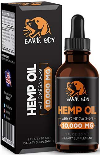 Bark Boy - Hemp Oil Dogs Cats - 10,000mg - Separation Anxiety, Joint Pain, Stress Relief, Arthritis, Seizures, Chronic Pains, Anti-Inflammatory - Omega 3, 6, 9-100% Organic - Calming Drops