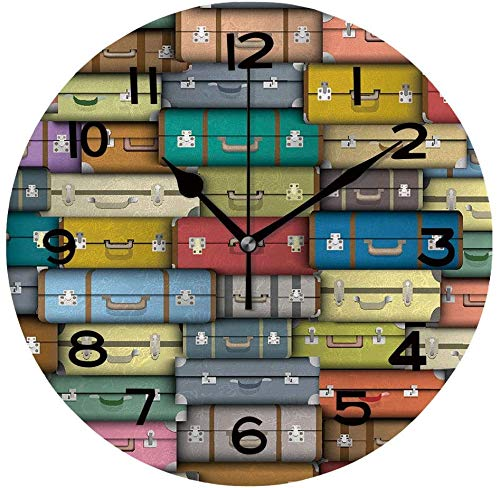 Toll2452 Reloj redondo fondo de maletas de colores único reloj de pared