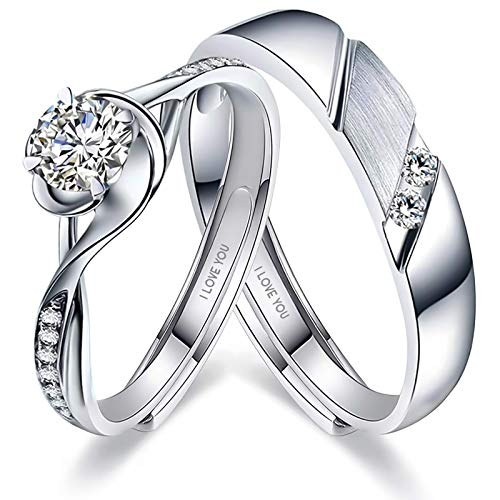Sunamy Endless Love Matching Couple Rings for Him and Her Set, Adjustable...