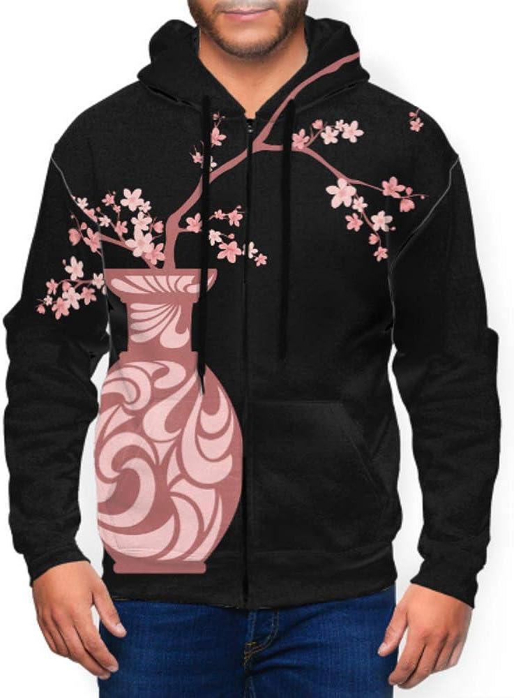 Long Sleeve Hoodie Print Blooming Sakura Branches Traditional Japanese Vase Jacket Zipper Coat Fashion Men's Sweatshirt Full-Zip M