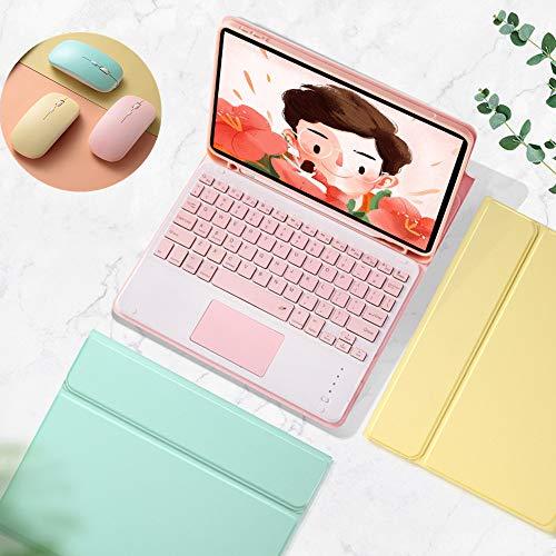 可愛い iPad mini5 mini4 キーボード ケース タッチパッド搭載 ワイヤレス マウス 3点セット キャンディーカラー アイパッド ミニ5 ミニ4 Mini 5 分離式 カラーキーボード付きカバー Apple Pencil 収納 女性 人気 (