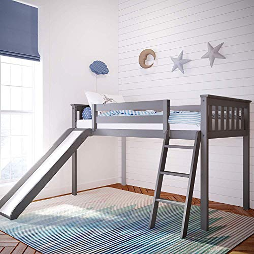 Max & Lily Solid Wood Twin-Size Low Loft Bed with Slide, Grey
