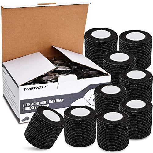 TOBWOLF 12 Stück Kohäsive Bandage Fixierbinde Selbsthaftend Elastisch (5cm*4.5m, Schwarz)