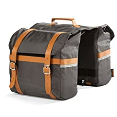 High Visibility Reflective Strips and Included Rain Fly Leather Straps 25L total capacity Padded to protect electronics and other valuables Matches Pedego Brown Balloon Tire, Seat and Grip Packages