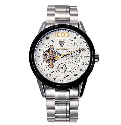 Tevise ultrafina hombres del reloj hueco mecánico automático relojes de acero perforada