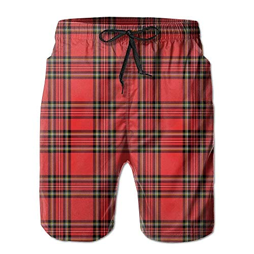 zengdou Badeshorts für Herren,Herren-Badehose Red and Black Plaid Pattern Scottish Striped Tartan Traditional (2) Summer Quick Dry Board/Beach Shorts for Men Comfortable Breathable