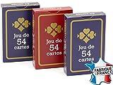 FRANCE CARTES - Jeu de 54 Cartes - Gauloise Bleue et Rouge - Lot de 3