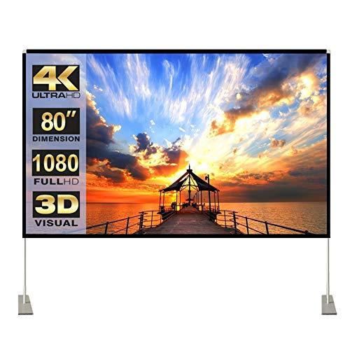 """Pantalla de proyector con soporte 80"""" 16:9 HD 4K para exterior de interior para cine en casa Pantalla de proyector 3D plegable rápida con patas de soporte y bolsa de transporte, sin arrugas"""
