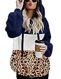 iWoo Teddy Abrigos de invierno para mujer, casual, con capucha, sudadera con capucha para invierno, cálido, con cremallera, para mujer, con estilo (azul marino, M)