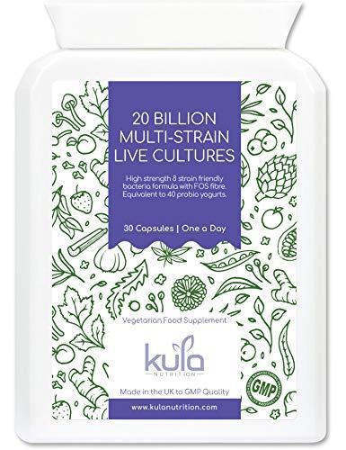 Kula Nutrition - High Strength 20 Billion Multi-Strain Live Culture Food Supplement – 30 Days Supply - Best 8 Strains of Acid and Bile Resistant Friendly Bacteria for Optimum Gut Flora Population.