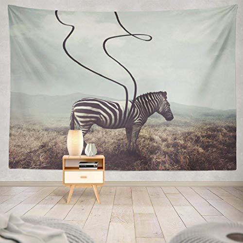 Duanrest Wandteppich,Zebra, surreales Zebra und Zwei Schwarze Streifen kreativ, Wandteppich für zu Hause 229x152cm